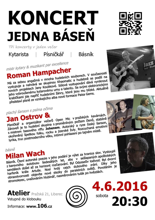 Jan Ostrov, Roman Hampacher a Milan Wach - Koncert jedna báseň | 4.6.2016